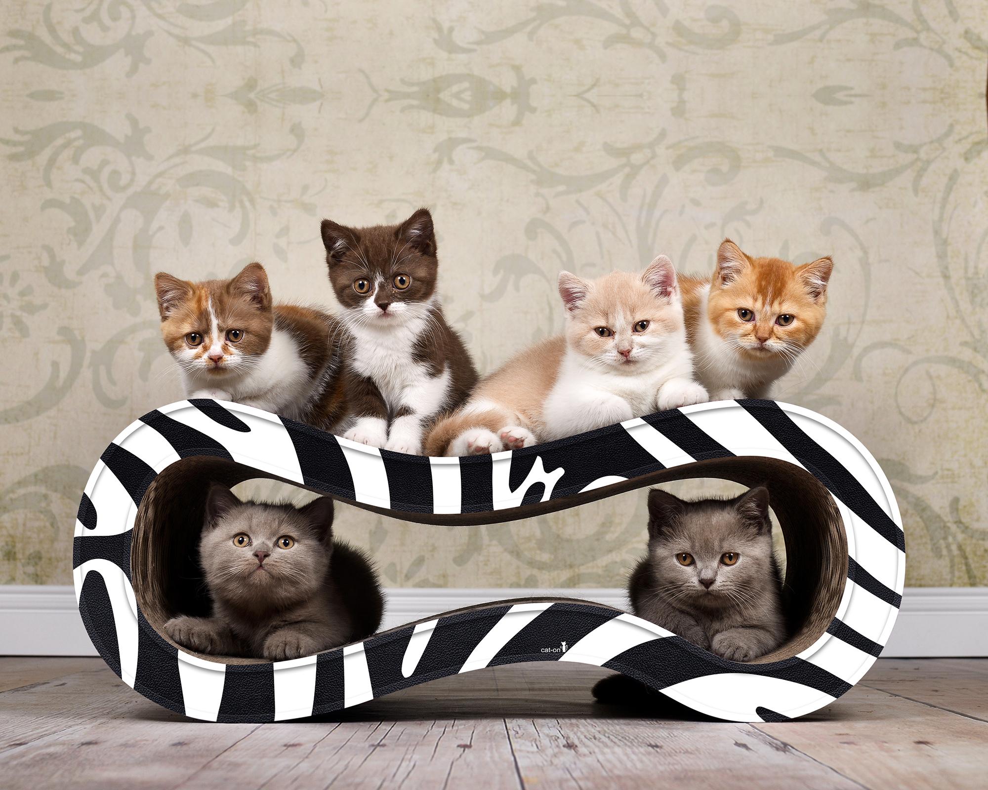 Design Kratzmöbel Für Katzen Singha M - schwarz-weisses Zebra-Muster