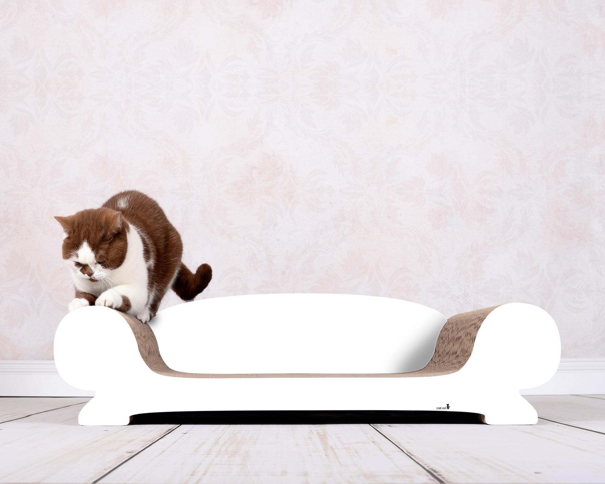 Katzensofa aus Kratzpappe Vertige in weiß