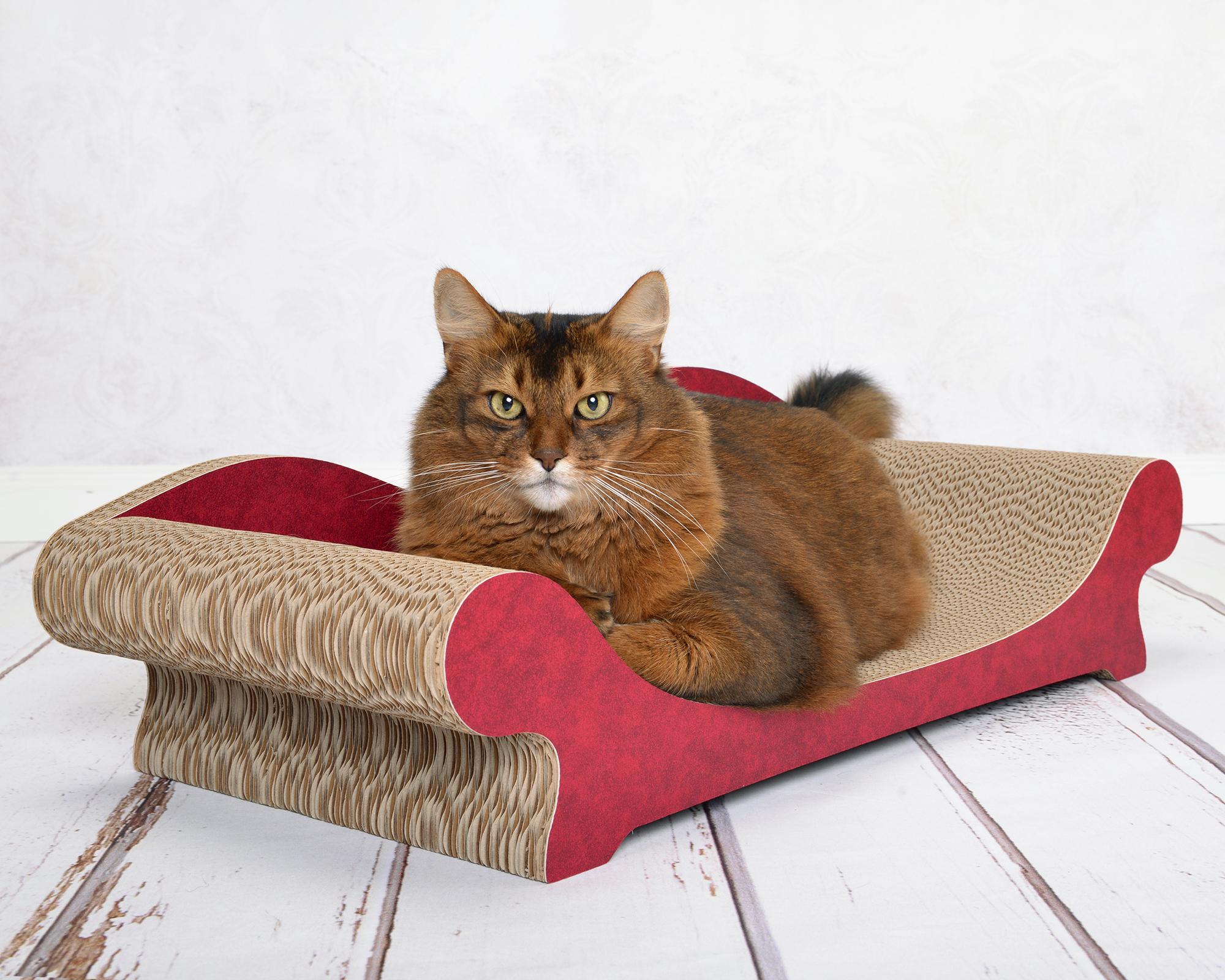 Katzenmoebel aus fsc-zertifizierter Wellpappe mit umwletfreundlicher Papier-Applikation