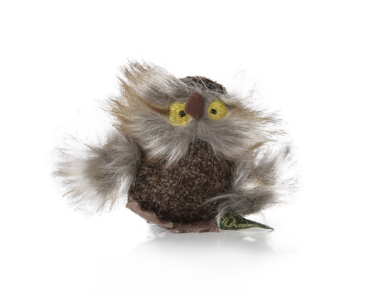 cat toy mouse in shape of a fluffy owl