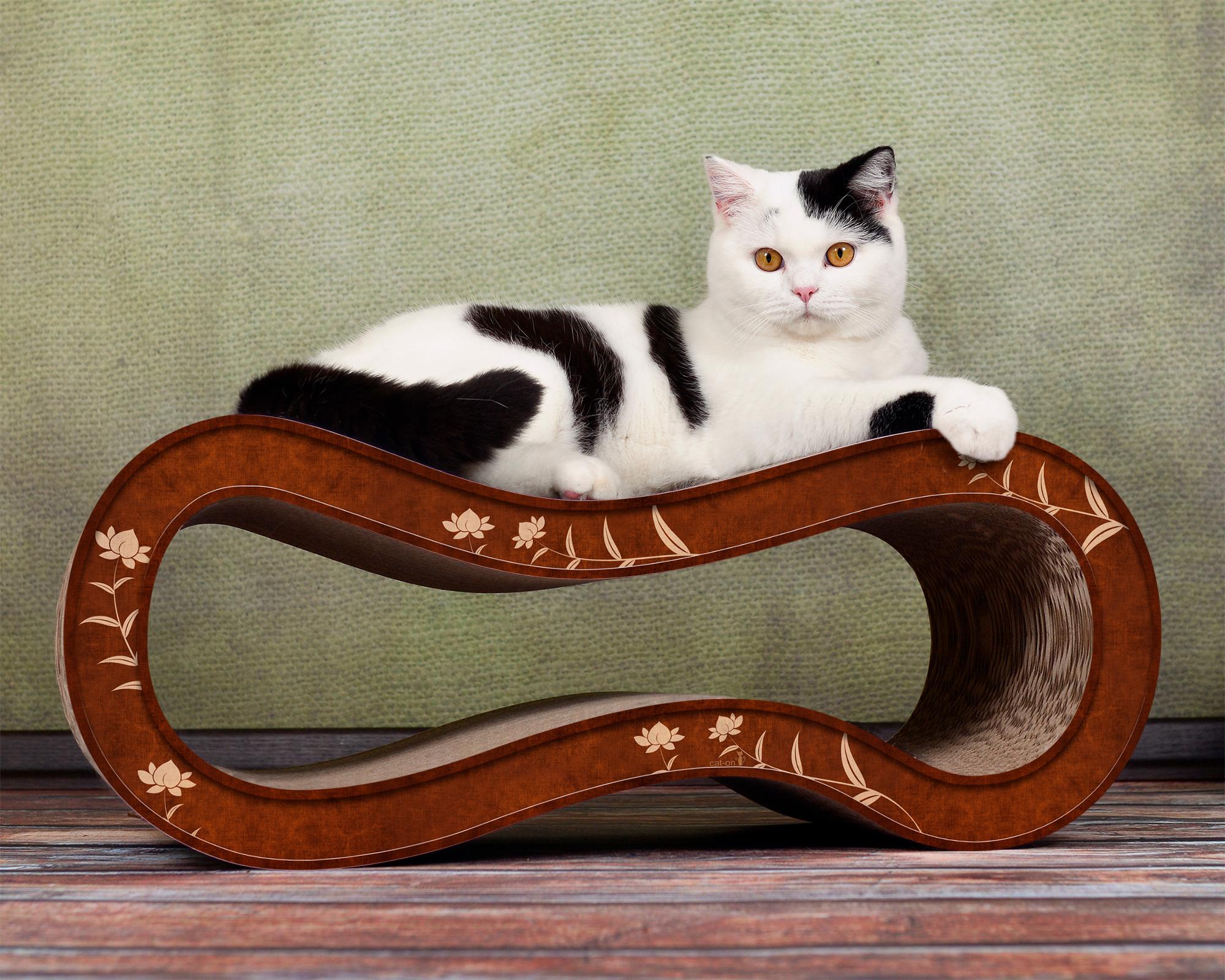 Design Kratzbaum für Katzen aus Kratzpappe Singha M - Farbe: beige-braun 002f
