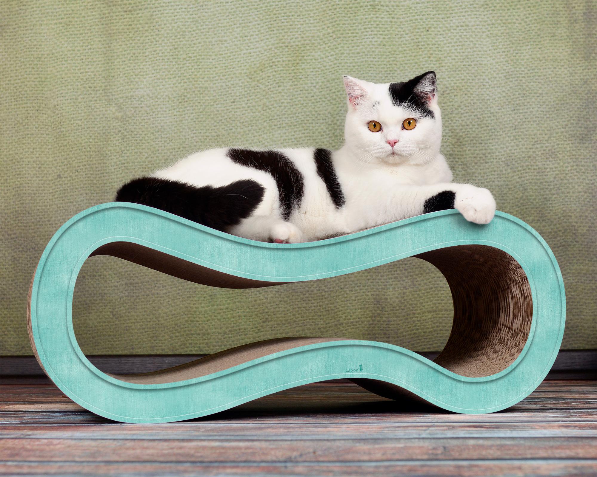Pappmöbel für Katzen Singha M in türkis 006c