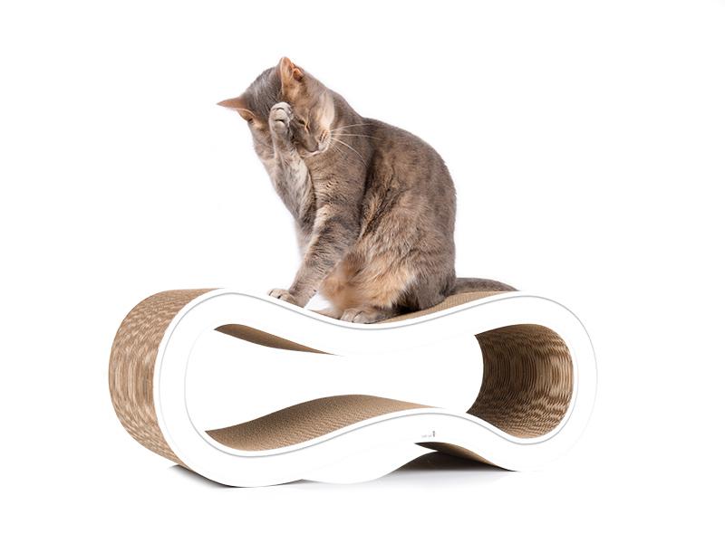 Kratzbaum cat-on Singha M, Möbel für Katzen aus Wellpappe, weiß