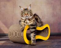 Vorschau: Design Kratzmöbel Kratzwelle Singha M in gelb mit orangen Asia Blumen 004b