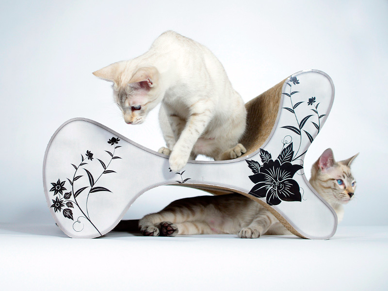cat sofa and lounge Molecular Fauteuil - the perfect cat tree goes design