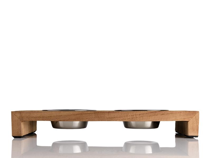 Fressnapf für Katzen aus Holz mit Edelstahlnäpfen