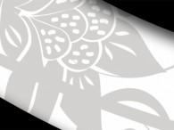 000B-Azie grijze bloemen op wit, zwarte rand