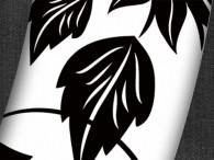 000C-Azie zwarte bloemen op wit, zwarte rand