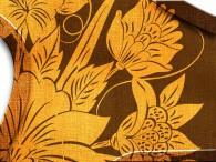 003C-Azië oranje bloemen op bruin