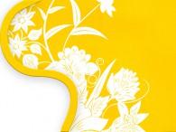 016F-Azië witte bloemen op geel