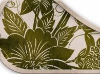 0017-Azië olijfgroene bloemen op beige-grijs