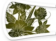 017B-Azië olijfgroene bloemen op wit