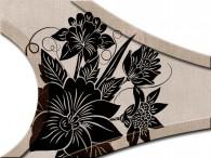 018B-Azië zwarte bloemen op beige