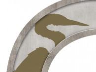 0026-Azië olijfgroene kraanvogel op licht beige