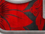 0007-Azië rode bloemen op zwart, donkere rand