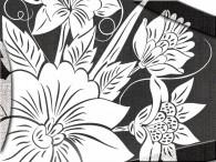 013D-Azië witte bloemen op zwart