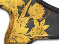 0014-Azië gouden bloemen op zwart