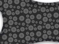 080D-Grijze bloemen op zwart